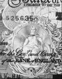The image of Britannia - Brigit Ana, on an English £10 note
