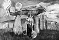 """Cornwall - Sacred Land of the Goddess"", painting by Monica Sjöö, showing the Cheese Ring, the Hurlers, Quoit and the Mothers."