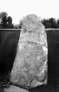 A recently excavated carved stone from inside the ritual mound at Knowth in the Boyne Valley.