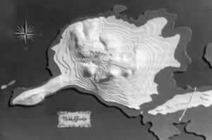 A three-dimensional topographic map made by Simant Bostock, showing the outline of Bridie's swan flying across the landscape from northeast to southwest, with an old Crone on her back